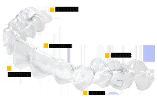 Alineador dental invisible para tratamientos de ortodoncia estética